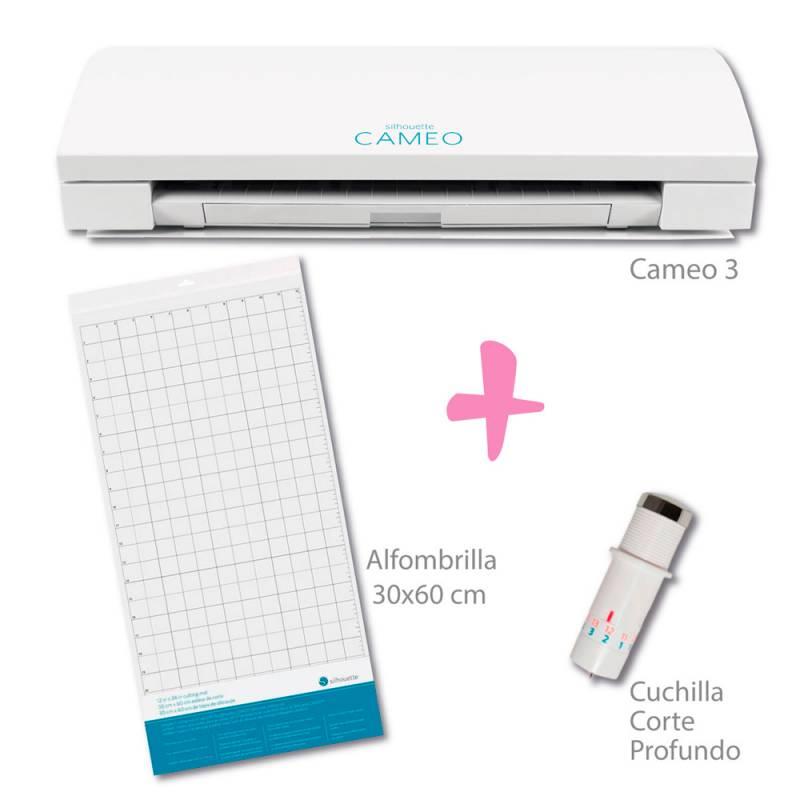 Plotter De Corte Silhouette Cameo 3 Blanco + Cuchilla De Corte Profundo + Alfombrilla 30x60cm